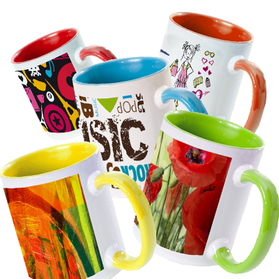 "TAZZA 11oz ""GRADE AA"" CON MANICO ED INTERNO COLORATI COMPRESE DI SCATOLINA INDIVIDUALE"